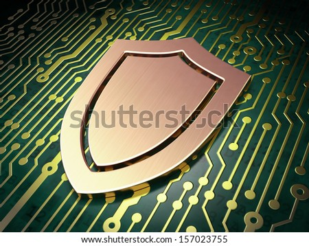 Safety concept: circuit board with Shield icon, 3d render - stock photo