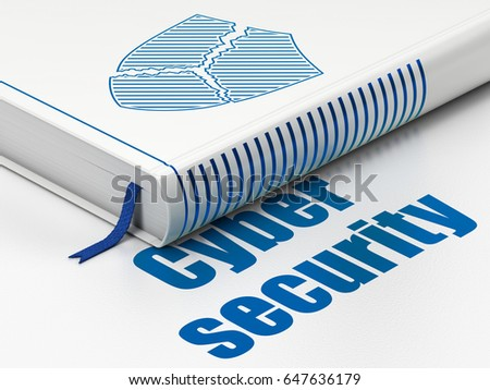 Safety concept: closed book with Blue Broken Shield icon and text Cyber Security on floor, white background, 3D rendering