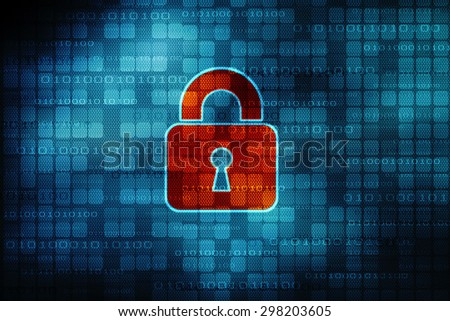 Safety concept: Closed Padlock on digital background