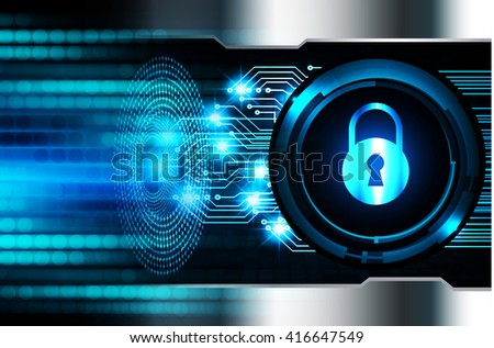 Safety concept, Closed Padlock on digital background, cyber security - stock photo