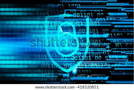 Safety concept, Closed Padlock on digital background, cyber security