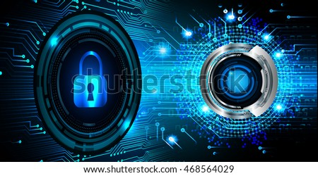 Safety concept, Closed Padlock on digital background, cyber security, Blue abstract hi speed internet technology background illustration. key