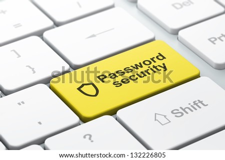 Safety concept: computer keyboard with Contoured Shield icon and word Password Security, selected focus on enter button, 3d render - stock photo