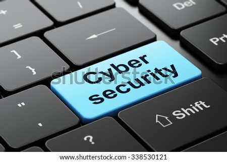 Safety concept: computer keyboard with word Cyber Security, selected focus on enter button background, 3d render - stock photo