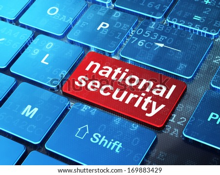 Safety concept: computer keyboard with word National Security on enter button background, 3d render - stock photo