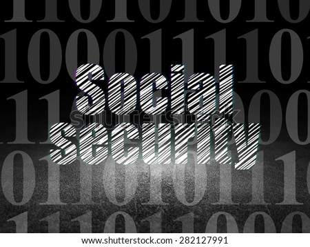 Safety concept: Glowing text Social Security in grunge dark room with Dirty Floor, black background with  Binary Code, 3d render - stock photo