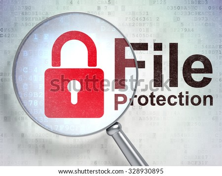 Safety concept: magnifying optical glass with Closed Padlock icon and File Protection word on digital background - stock photo