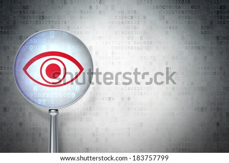 Safety concept: magnifying optical glass with Eye icon on digital background, empty copyspace for card, text, advertising, 3d render - stock photo