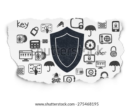 Safety concept: Painted black Shield icon on Torn Paper background with  Hand Drawn Security Icons, 3d render - stock photo