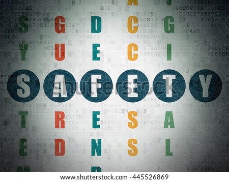 Safety concept: Painted blue word Safety in solving Crossword Puzzle on Digital Data Paper background - stock photo