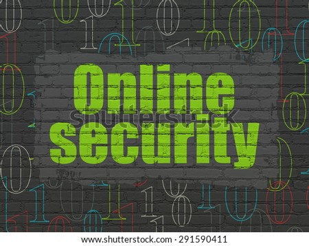 Safety concept: Painted green text Online Security on Black Brick wall background with  Binary Code, 3d render - stock photo