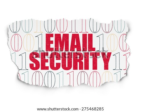 Safety concept: Painted red text Email Security on Torn Paper background with  Binary Code, 3d render - stock photo
