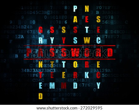 Safety concept: Pixelated red word Password in solving Crossword Puzzle on Digital background, 3d render - stock photo