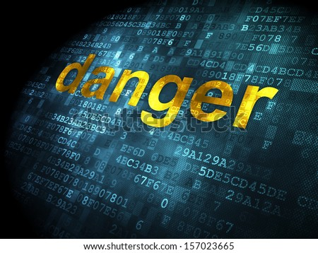Safety concept: pixelated words Danger on digital background, 3d render