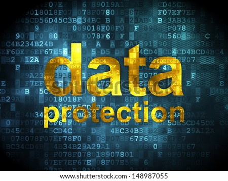 Safety concept: pixelated words Data Protection on digital background, 3d render