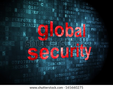 Safety concept: pixelated words Global Security on digital background, 3d render