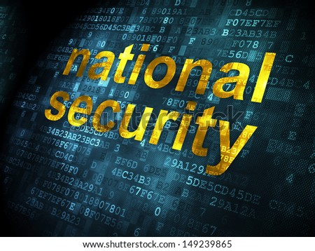 Safety concept: pixelated words National Security on digital background, 3d render - stock photo