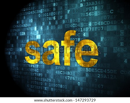 Safety concept: pixelated words Safe on digital background, 3d render