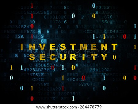 Safety concept: Pixelated yellow text Investment Security on Digital wall background with Binary Code, 3d render - stock photo