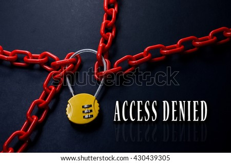 Safety Concept. Red chain and yellow padlock with number combination on blackboard with word Access Denied. - stock photo