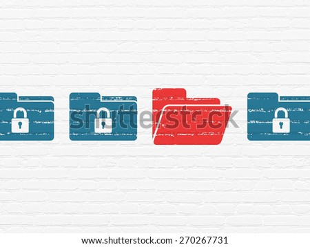 Safety concept: row of Painted blue folder with lock icons around red folder icon on White Brick wall background, 3d render - stock photo