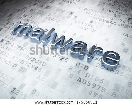 Safety concept: Silver Malware on digital background, 3d render