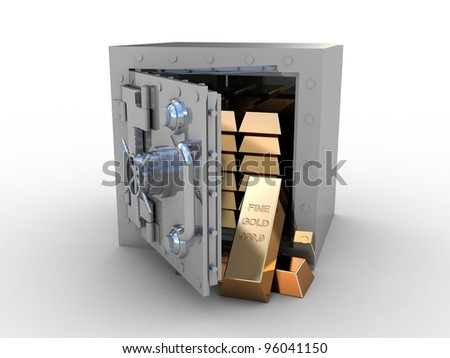 Safety deposit box and gold bras on white background, 3D images