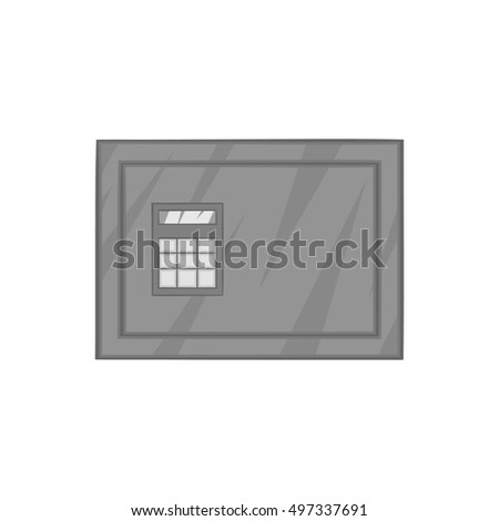 Safety deposit box icon in black monochrome style isolated on white background. Security symbol  illustration