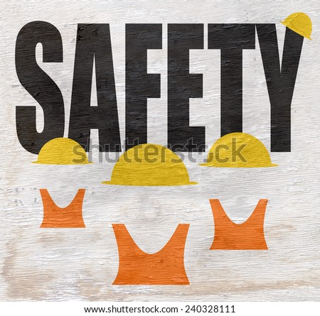 safety design with construction workers with hard hats and vests on wood grain texture - stock photo
