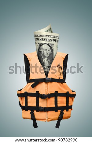 safety dollars concept (path in side) - stock photo