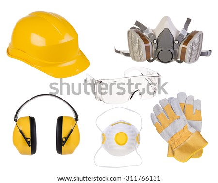 Safety equipment isolated on white background - stock photo
