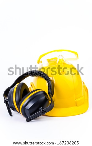 Safety equipment on isolated white background