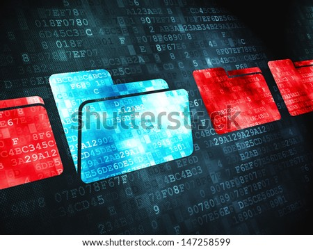Safety finance concept: pixelated Folder icon on digital background, 3d render - stock photo