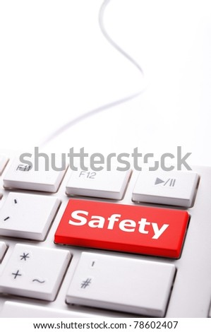 safety first on computer key showing security concept - stock photo