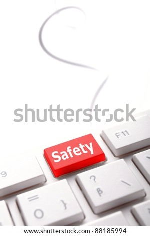 safety first on computer key showing security concept