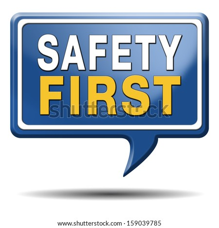 safety first rules for security at work and safe and healthy life, risk management icon or banner - stock photo