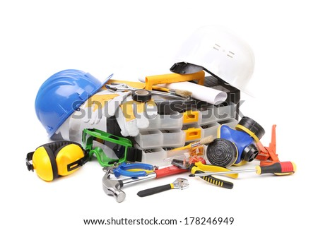 Safety gear kit with tool box. Isolated on a white background. - stock photo