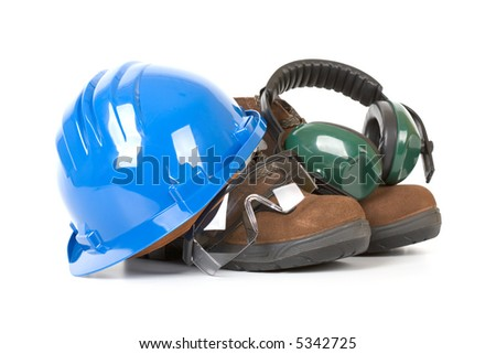 Safety gear - over a white background