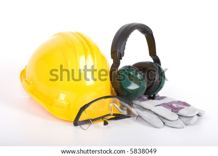 Safety gear - over a white background - stock photo