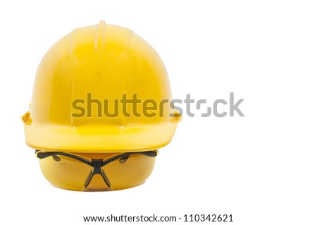 Safety glasses and hard hat personal protective equipment - stock photo