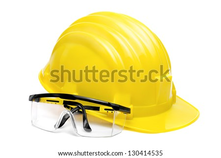 Safety Glasses and Helmet - stock photo