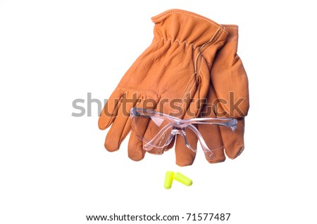 safety glasses, gloves, and earplugs - stock photo