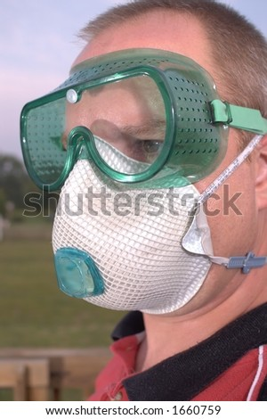 Safety Glasses Goggles and Dust Mast Respirator - stock photo