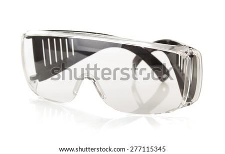 safety glasses isolated on white background - stock photo