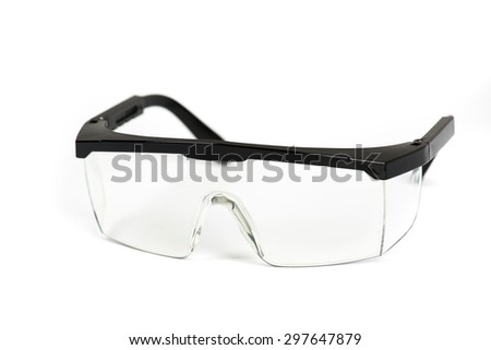 Safety glasses on isolated - stock photo