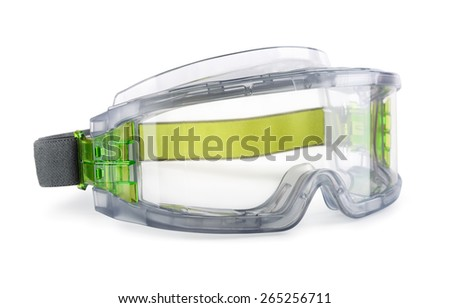 Safety goggles isolated on white - stock photo