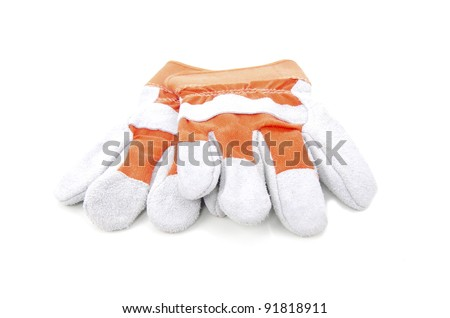Safety hand glove as personal protective equipment (PPE) isolated on white background. - stock photo