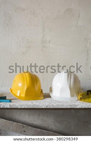 Safety hardhats. - stock photo