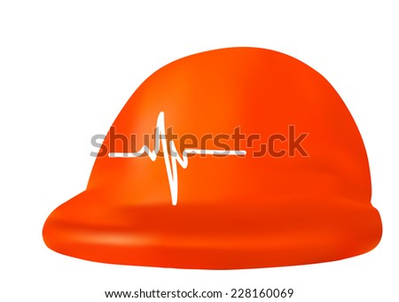 Safety helmet and cardiogram as health and safety concept - stock photo