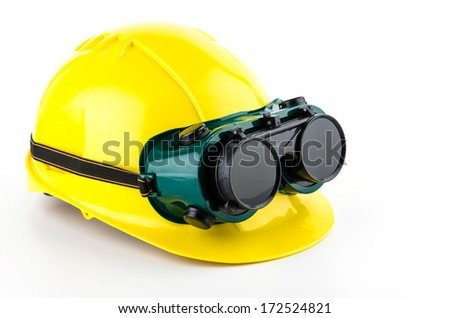 Safety helmet and goggles glasses isolated on white background